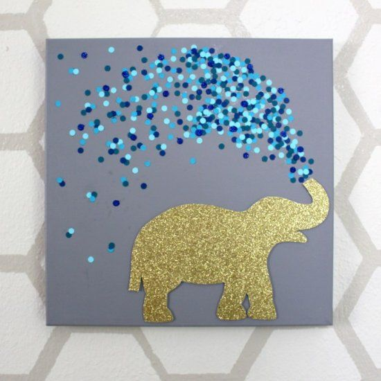 In less than 30 minutes you can have your own elephant canvas art using scrapbook paper and round cutouts. Seriously, the easiest project!