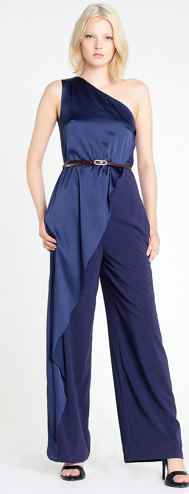 An Oscar-worthy outfit, this one-shouldered jumpsuit is designed with a wavy light sheen overlay, with a side zip and side seam pockets. The jumpsuit can be styled with a thin belt for added style.  http://www.paisie.com/collections/jumpsuits-playsuits/products/one-shoulder-jumpsuit-with-curved-overlay