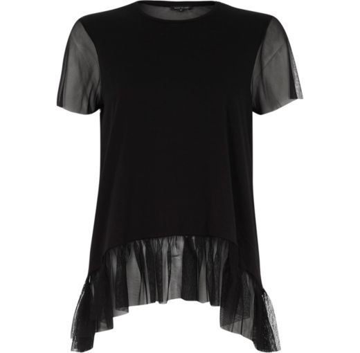 Checkout this Black mesh frill hem top from River Island