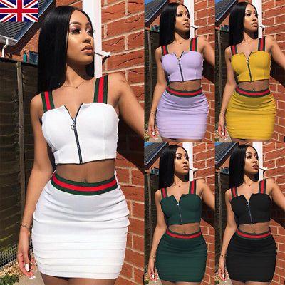 8f5184da7cab9d UK Women 2 Piece Bodycon Two Piece Crop Top + Skirt Set Bandage Dress Party  Plus