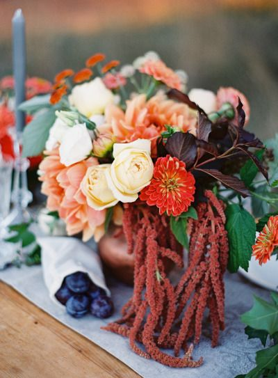 Rich hued fall centerpiece: http://www.stylemepretty.com/2013/11/18/autumn-inspired-photo-shoot-from-omalley-photographers/ | Photography: O'Malleys - http://omalleyphotographers.com/