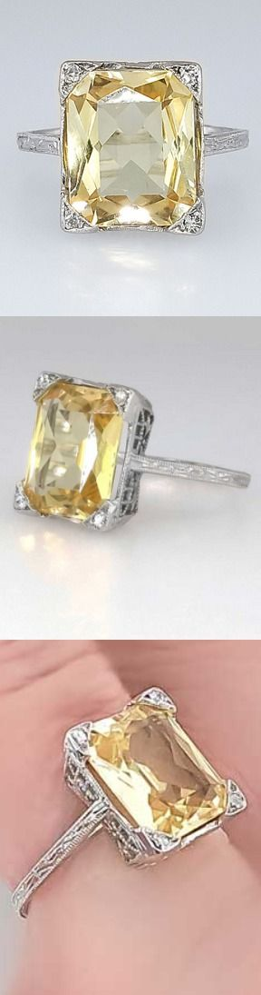 Bright Art Deco 3.73ct Natural Yellow Sapphire & Diamond Filigree Ring 18k