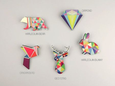 Geometric Bear Brooch Neon 'Harlequin Bear' | Sumally