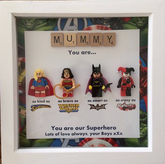 Personalised 3D Lego Picture Frame Superhero Wedding Anniversary Mother's Day