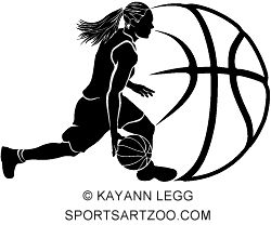 Basketball silhouette of a female basketball player dribbling with stylized ball by SportsArtZoo