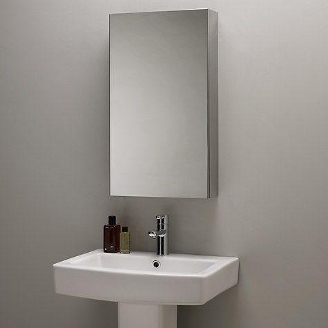Gallery Website Buy John Lewis Single Mirrored Bathroom Cabinet Large Stainless Steel Online at johnlewis