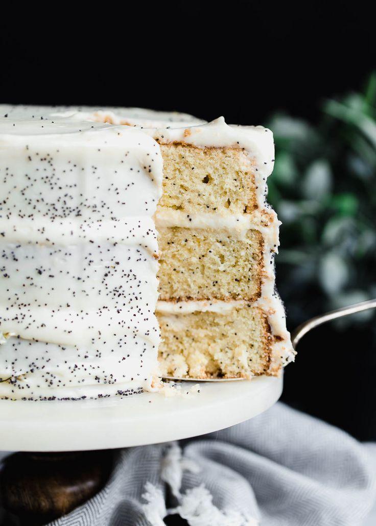 Lemon Poppyseed Cake with lemon cream cheese frosting
