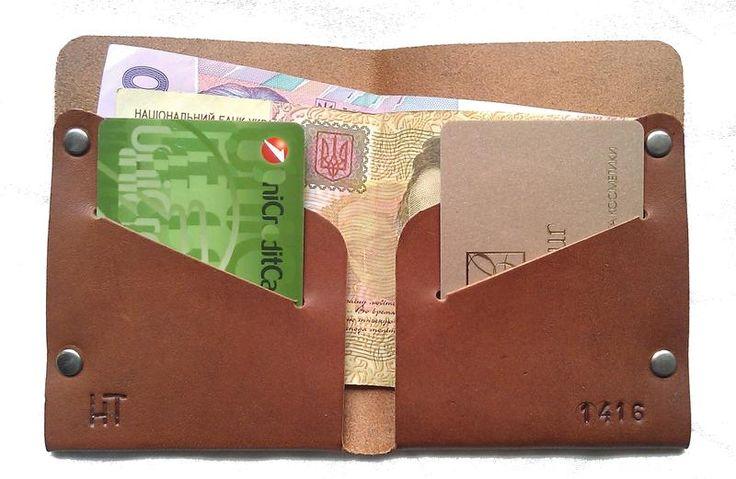 Купить мужской кошелек из натуральной кожи коричневый тонкий ручная работа.