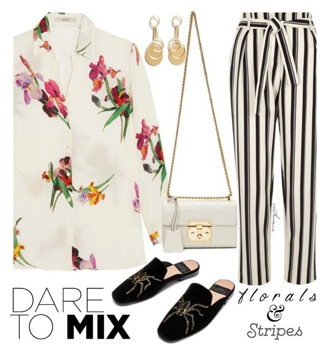 """""""Florals & Stripes"""" by arethaman ❤ liked on Polyvore featuring River Island, Etro, Gucci, florals, loafers, WhatToWear and outfitidea"""