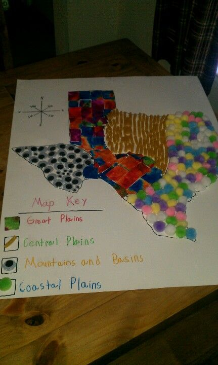 Texas Regions: This would be an even better project for students to do! In groups they could each make a map of the regions. This would teach the students mapping skills and let them differentiate each region. They could then present it to the class when finished.