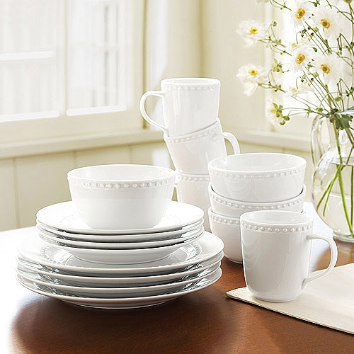 Canopy 24 7 Collection Beaded Porcelain 16 Piece Dinnerware Set