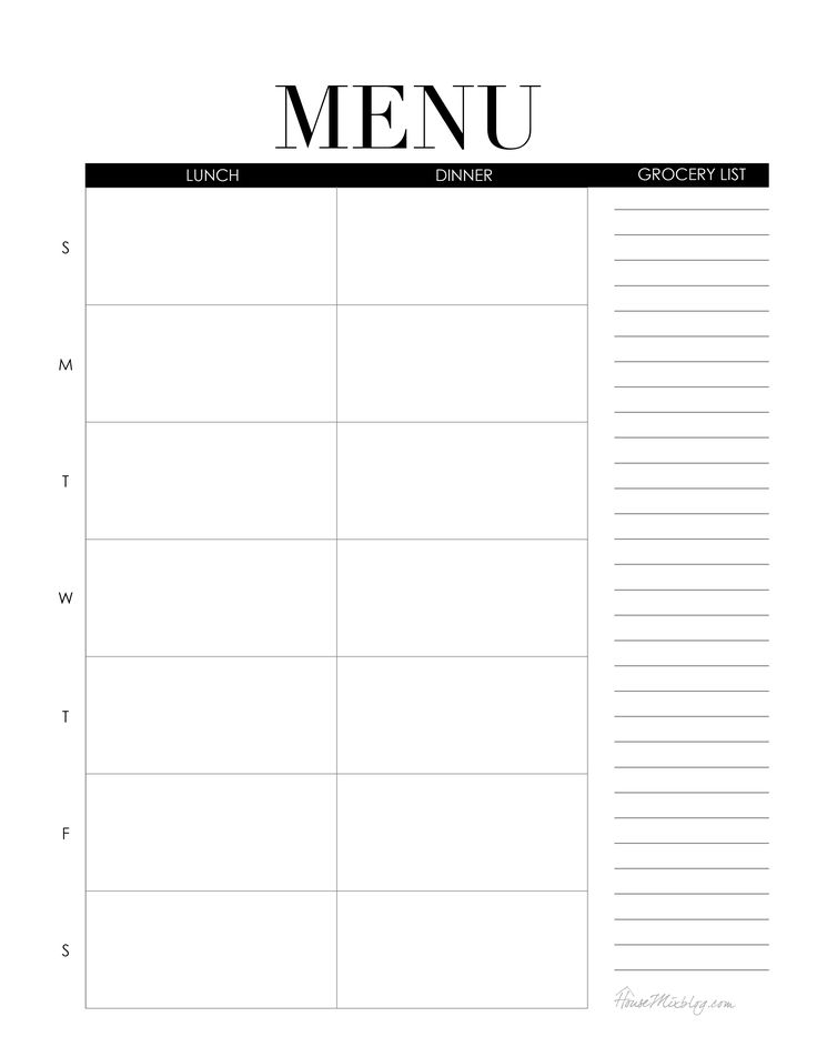 Weekly Menu Printable Lunch And Dinner 2,550×3,301  Menu For The Week Template
