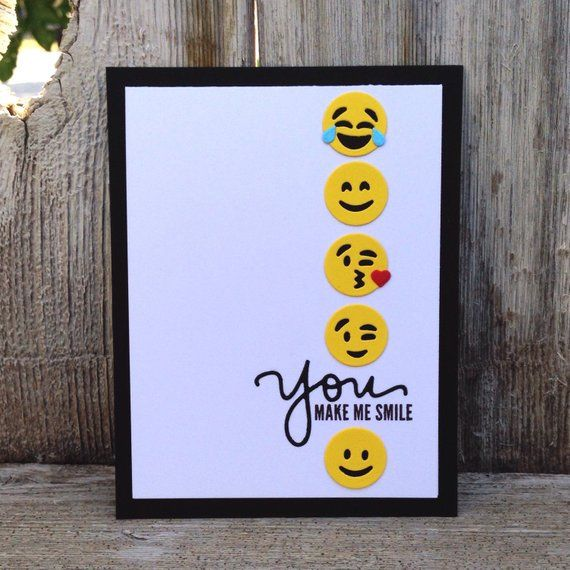 Items similar to Handmade Emoji Card / You Make Me Smile / Just Because / Hello / Cute / Snail Mail / Happy / Friend / Trendy / For Boyfriend / Girlfr…