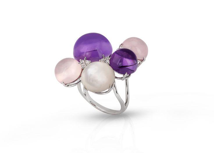 Anello in oro bianco, anello con diamanti,anelo con ametista,anello con quarzi rosa,anello con madreperla,anello per lei,anello regalo di Modellart su Etsy