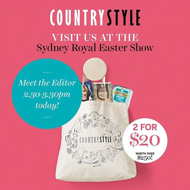 Meet Country Style editor-in-chief Victoria Carey today at the @sydney_royal_easter_show! Victoria will be at our stand in the Home Garden and Lifestyle Pavilion today from 2:30-3:30pm and would love to meet you all. Stop by for a chat and take advantage of our 2 for $20 deal on Country Style showbags plus an amazing discount on a 6-month subscription to the magazine. Tag your friends! #countrystylemag #countrystyleloves  via COUNTRY STYLE MAGAZINE OFFICIAL INSTAGRAM - Celebrity  Fashion…