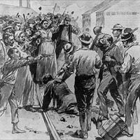 The Homestead Strike was a bloody labor confrontation lasting 143 days in 1892, one of the most serious in U.S. history. The conflict was centered on Carnegie Steel's main plant in Homestead, Pennsylvania, & grew out of a dispute between the National Amalgamated Assoc of Iron & Steel Workers of the United States & the Carnegie Steel Company.  Carnegie left on a trip to Scotland before the unrest peaked. Carnegie left mediation of the dispute in the hands of his associate & partner Henry…