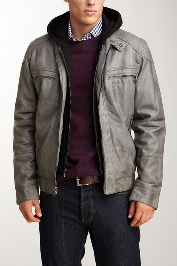Calvin Klein Hooded Faux Leather Jacket in Grey