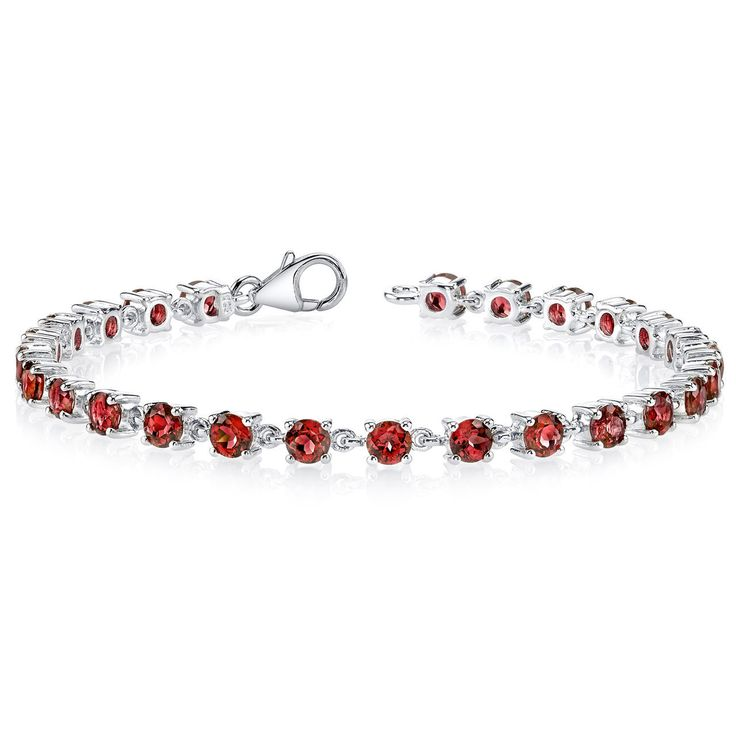 Fine Jewelry Genuine Garnet Oxidized Sterling Silver Tennis Bracelet