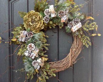 Navidad guirnalda de invierno baya verde ramita vid puerta guirnalda decoración peonía verde tenue ramas decoración interior decoración al aire libre de la puerta