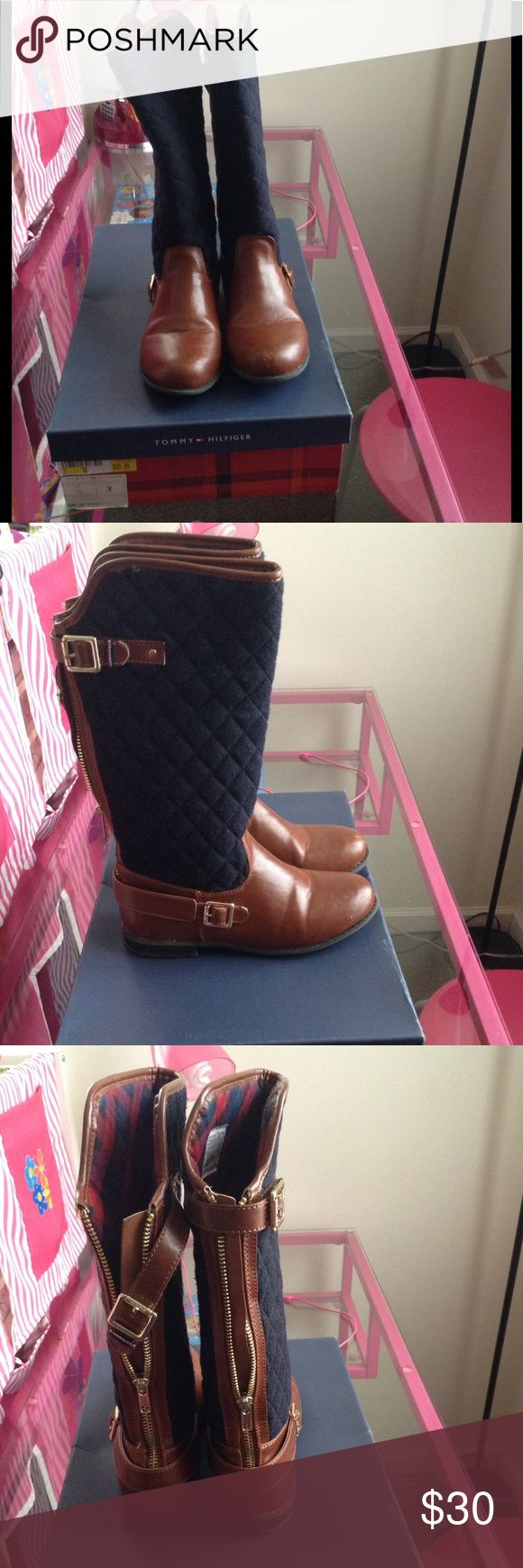 Tommy Hilfiger riding boots Sz 3 Good used condition. Leather & navy blue quilted. Small scuff on tip of left boot (see last pic) unnoticeable once wearing Tommy Hilfiger Shoes Boots