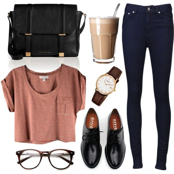 Striped cropped t shirt + high waisted denim pants + shiny oxfords + large black leather bag: