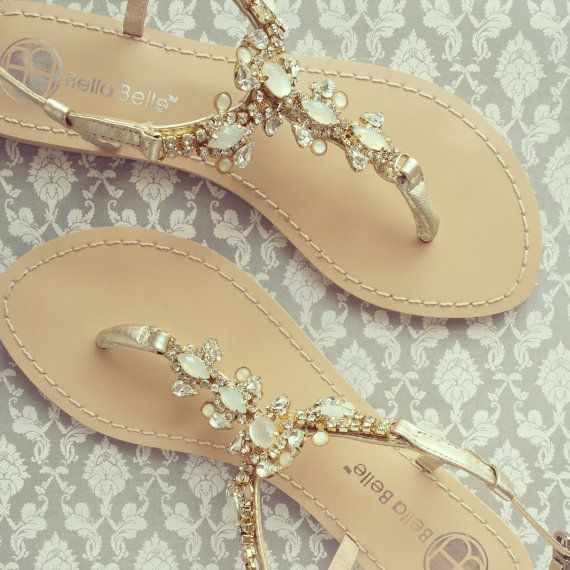 Something Blue Sole Wedding Shoes Sandals with gold Jewel Crystal Destination Beach Wedding Bohemian Bella Belle Luna