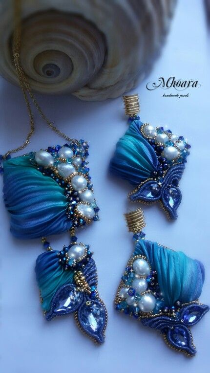 Set ' Portofino ' Shibori silk, pearls, crystals, beadembroidery, soutache, silk ribbon. Mhoara Jewels