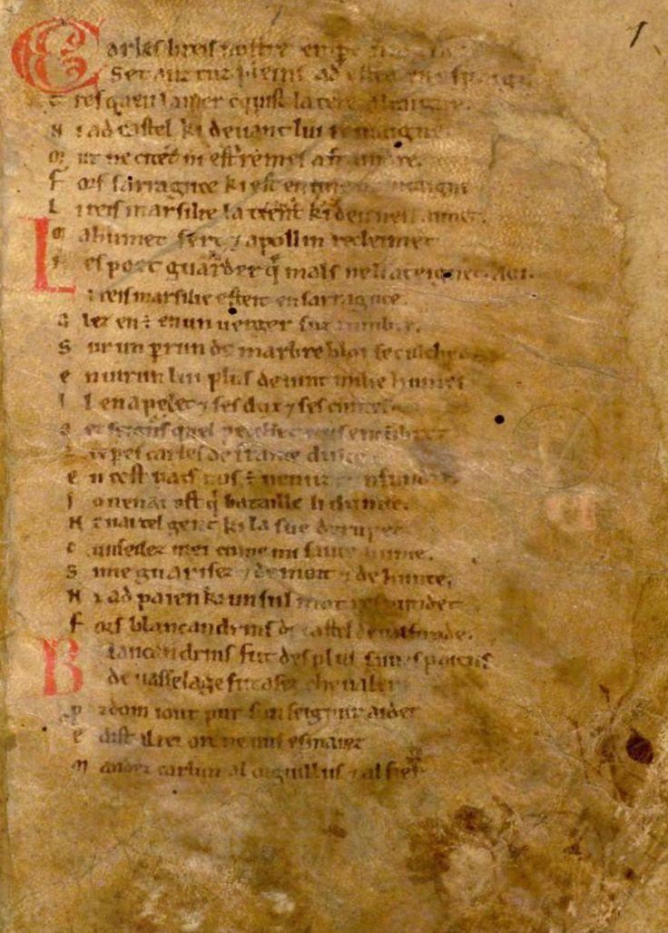 Źródło: Pieśń o Rolandzie, koniec XI/początek XVII wieku, Bodleian Library, domena publiczna.
