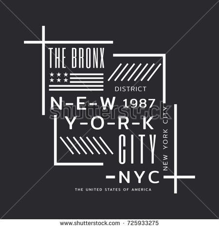 Vector illustration on the theme of New York City, Bronx. Stylized American flag. Typography, t-shirt graphics, poster, print, banner, flyer, postcard