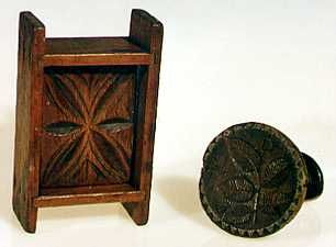 Butter molds were used to form and decorate butter, which was first pressed into the shape of the mold, and then forced out with a decorative plunger. The carved plunger, like a carved stamp, impressed the finished butter with its design. Stamps were carved in a variety of plant designs and, occasionally, with animals or patriotic motifs. They were used often in selling butter to advertise and identify the maker.