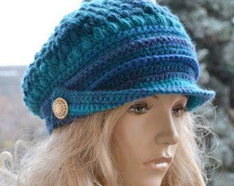 Azul casquillos de vendedor de periódicos, mujeres de la gorrita tejida, slouchy del sombrero del ganchillo, moda de invierno, muy caliente, accesorios mujeres, sombreros de mujer, gorras de invierno, moda mujer