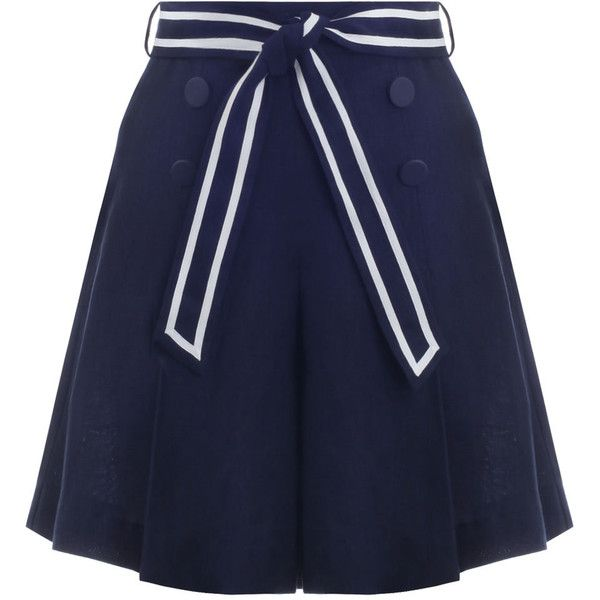 ZIMMERMANN Meridian Sailor Shorts (870 BRL) ❤ liked on Polyvore featuring shorts, skirts, pants, linen shorts, high rise shorts, swimming shorts, sailor shorts and navy shorts
