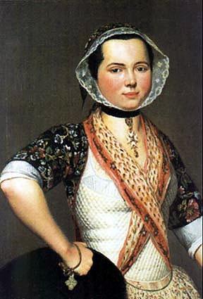 Portrait de Jeune Fille en Costume d'Arles' by Antoine Raspal, 1779  We offer a neck-handkerchief almost identical!  http://www.burnleyandtrowbridge.com/madderandolivegreenneck-handkerchief.aspx