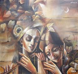 Radhe Krishna Canvas Painting HD Wallpaper,Radhe Krishna HD Wallpaper And Image,Lord Krishna HD Wallpaper,Lord Krishna Painting HD Wallpaper,God Image