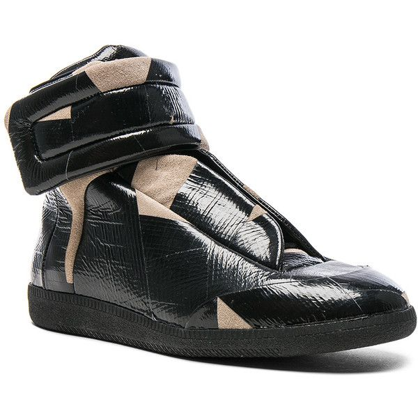 Maison Margiela Future High Top Sneakers ($1,195) ❤ liked on Polyvore featuring men's fashion, men's shoes, men's sneakers, sneakers, maison margiela men's sneakers, mens suede sneakers, mens velcro strap sneakers, mens lace up shoes and mens velcro shoes