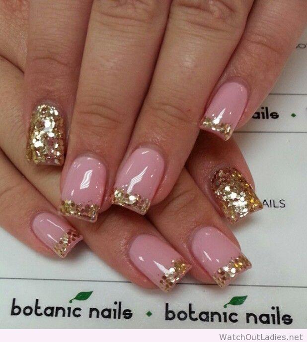 Botanic nails pink, golden glitter