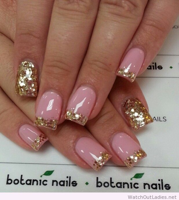 Botanic nails pink, golden glitter