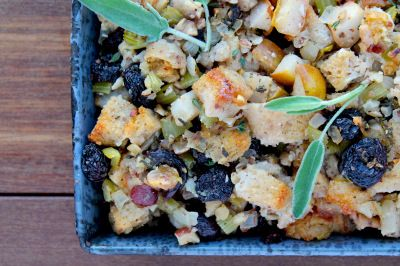 ... -free sourdough stuffing (dressing) with cherries, pears & hazelnuts
