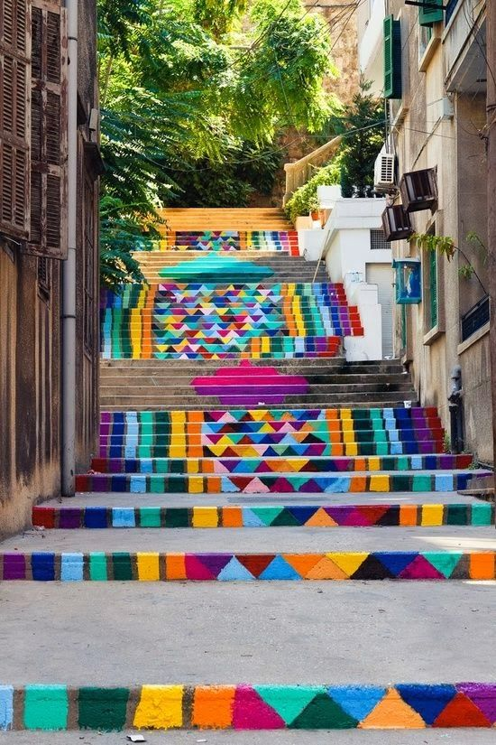 Street art in Beriut, LebanonPattern, Street Art Utopia, Streetartutopia, Painting Stairs, Colors, Rainbows, Beirut Lebanon, Places, Stairways