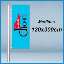Banderas verticales publicitarias con vaina 120x300cm. Comprar banderas verticales baratas con potencia. Fabricadas en poliester 115grs. Banderolas de publicidad con vaina.