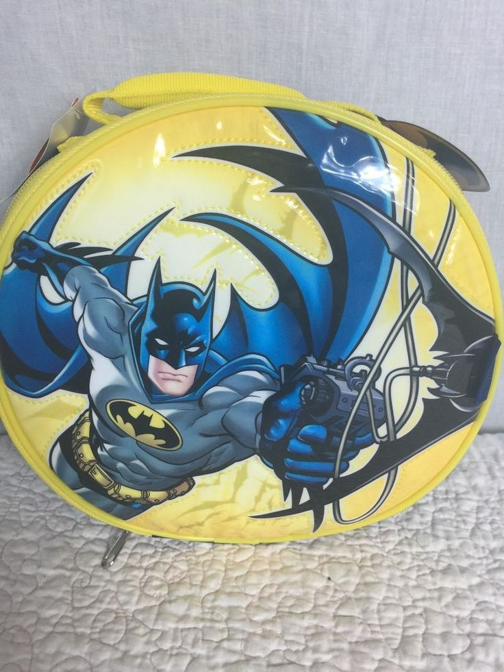 Batman Lunch Box Bag Pail Kit Insulated Soft Boys Round Yellow Blue Thermos | eBay