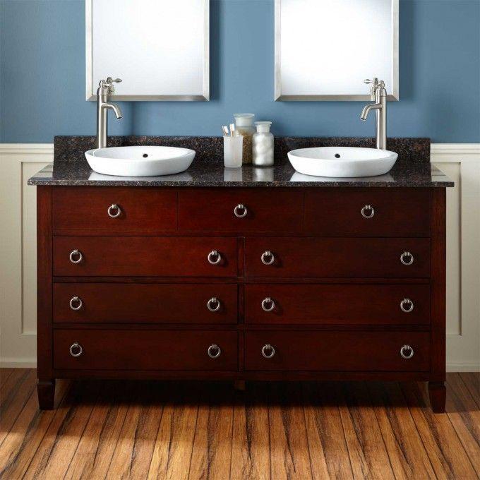 "60"" Walnut Vanity Cabinet - Semi-recessed"