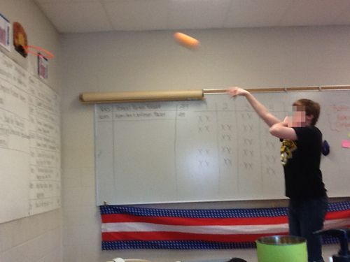 To Engage Them All: Grudgeball.. a Review Game Where Kids Attack! Modify so that students are trying to get rid of their own x's to avoid arguments. Could use this for multiplication, word problems, division- so many ways to incorporate for test review. Use file crate and nerf ball- use masking tape for 2 x and 3 x lines.