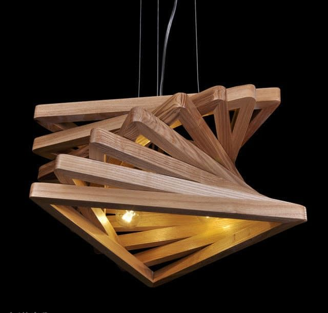 Triangle Tunnel Solid Wood Chandelier Pendant Lighting Wood Lamps