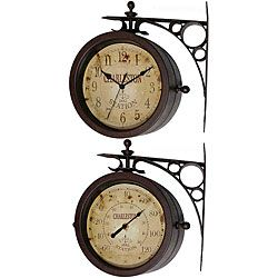 @Overstock.com - Two-sided Rustic Charleston Clock/ Thermometer - This gorgeous, antiqued rustic two-sided clock is perfect for any home. With its old world style, this clock features the time on one side and the temperature on the other. This great clock is perfect for inside or outside of your home.  http://www.overstock.com/Home-Garden/Two-sided-Rustic-Charleston-Clock-Thermometer/5040329/product.html?CID=214117 $61.99
