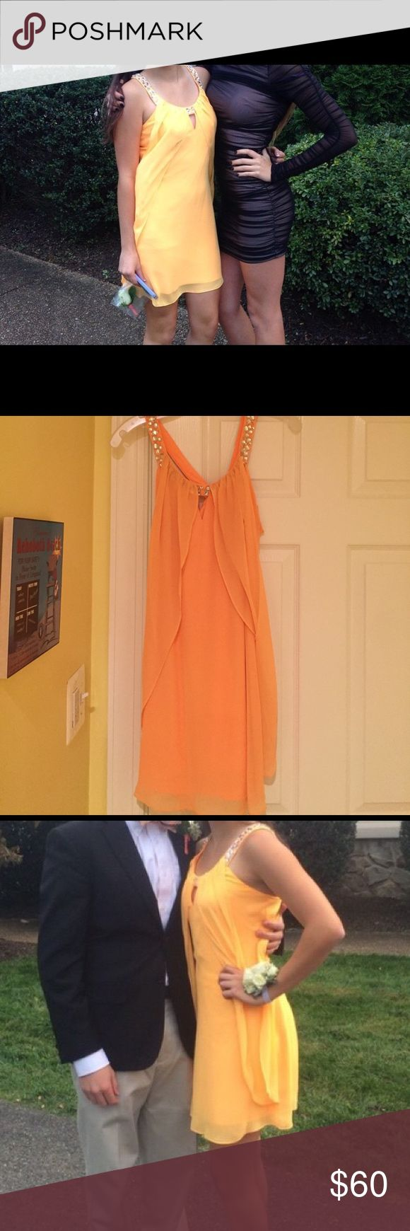Hailey Logan by Adrianna Papell Orange Dress Very cute, bright orange dress with embroidered gem neckline! Worn once and in near perfect condition! Adrianna Papell Dresses