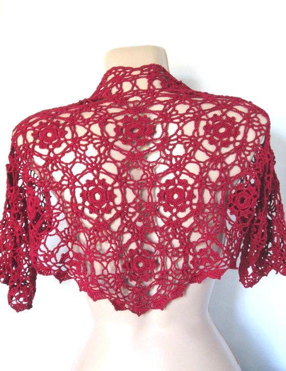 Crochet shrugCrochet lace boleroDark red shrugSummer by AgathaBee
