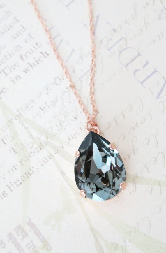 Rose Gold FILLED Swarovski Black Diamond Crystal Teardrop Necklace - rose gold weddings brides bridesmaid bridal shower gifts necklace , by ColorMeMissy, www.colormemissy.com