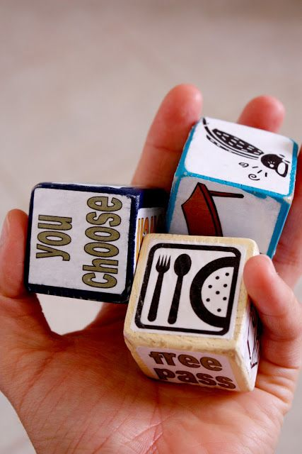 DIY Chore Dice -- one can only dream that they will get kids excited about chores. Find Great Ideas by clever mothers on FamilyFun Pinterest Boards.