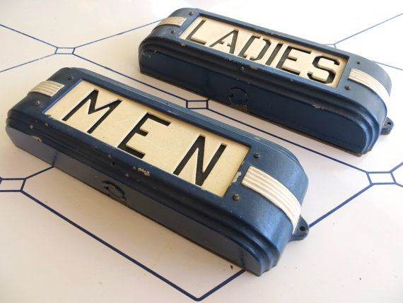 "Cast Iron Art Deco ""MENS"" & ""LADIES"" Hollywood Theatre / Opera House Illuminated Restroom Signs -- Wonderful Streamlined 'Train Car' Design"